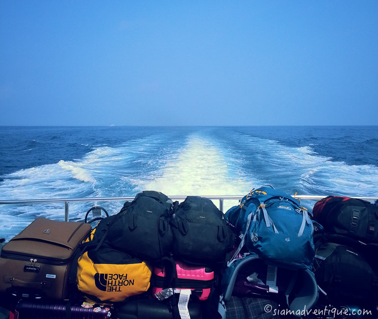 Backpacks on Speedboat