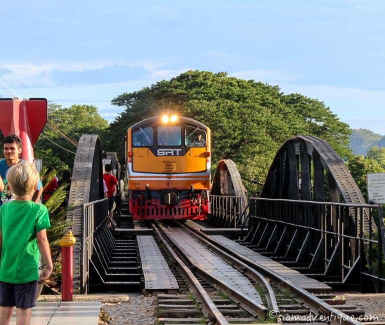 Train Arrives at Bridge over the River Khwae